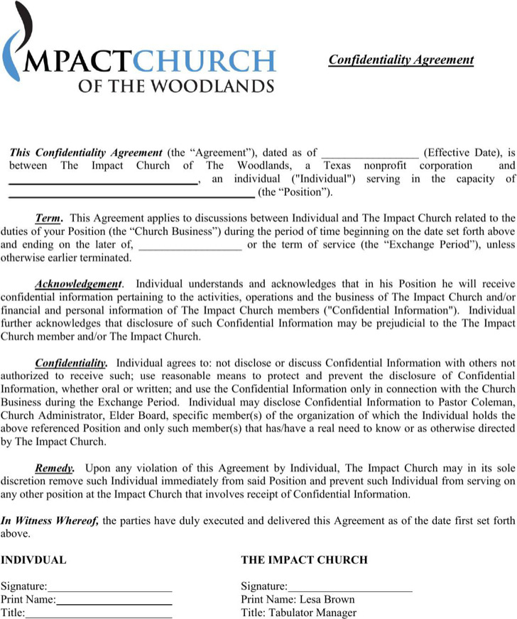 Standard Church Confidentiality Agreement Example