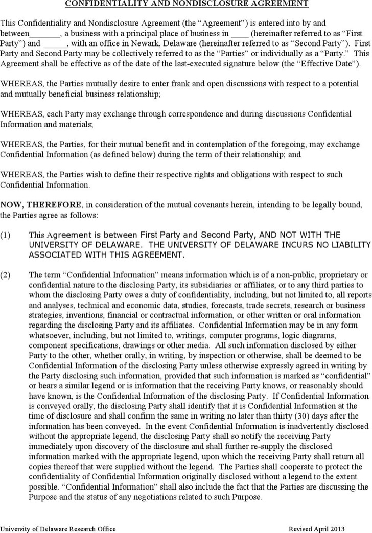 Standard Confidentiality Agreement Template