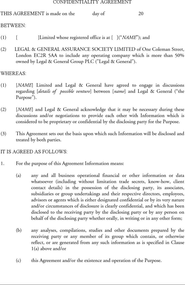 Standard Form Confidentiality Agreement Sample