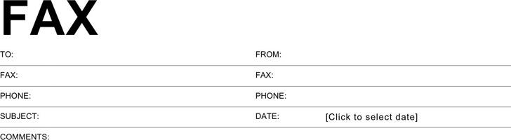 Standard Format Fax Cover Sheet
