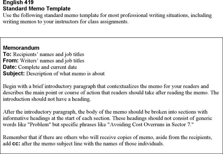 Standard Memorandum Template