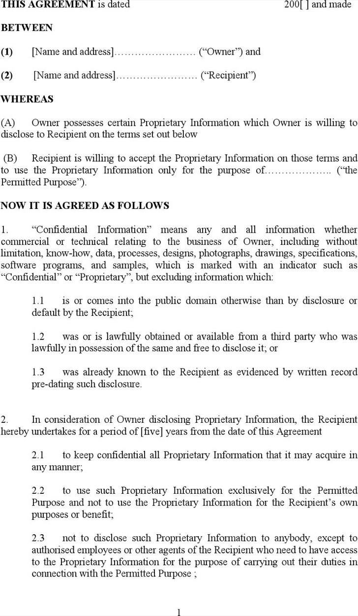 Standard Model Non Disclosure Agreement Form Doc