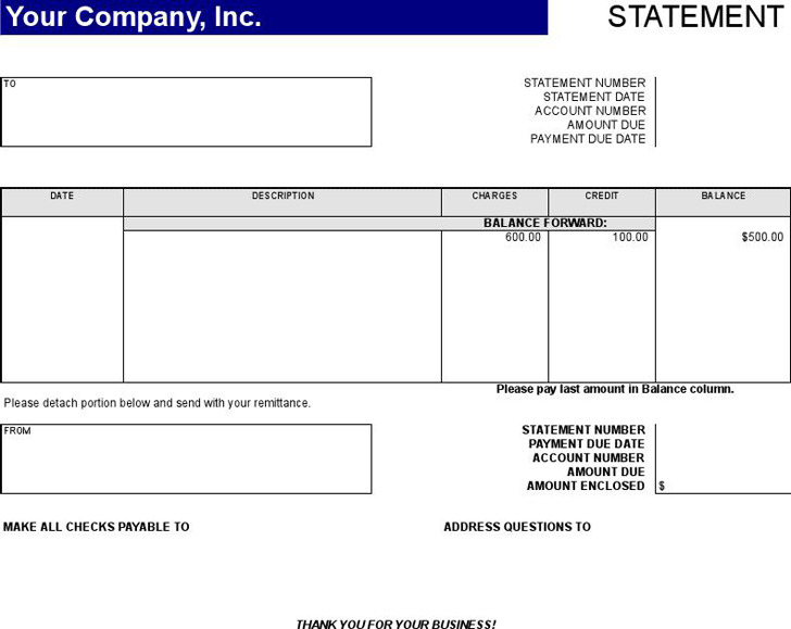 Statement of Account Template 2