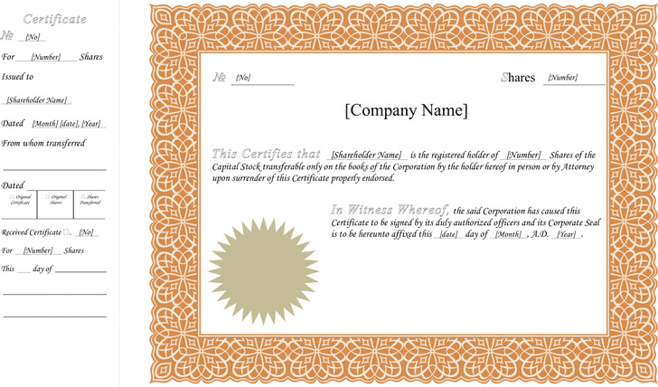 stock certificate template 1 - Share Certificate Template
