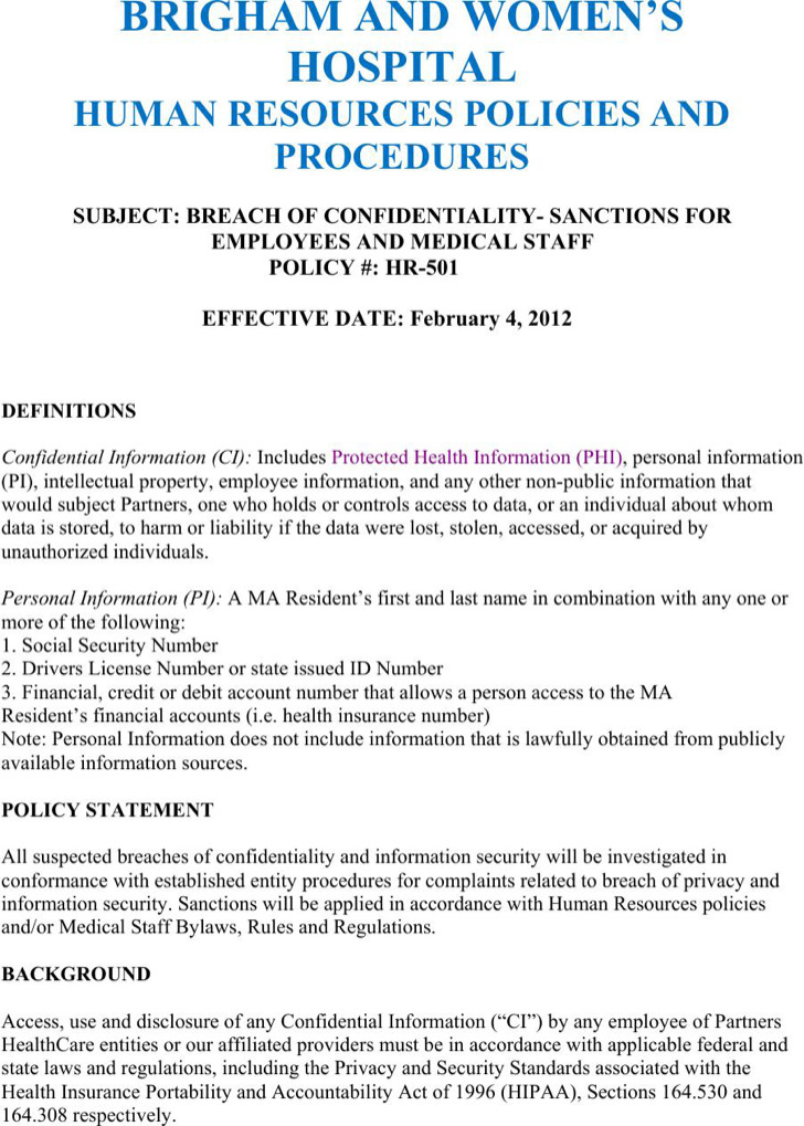 Strategic Human Resources Confidentiality Agreement Example