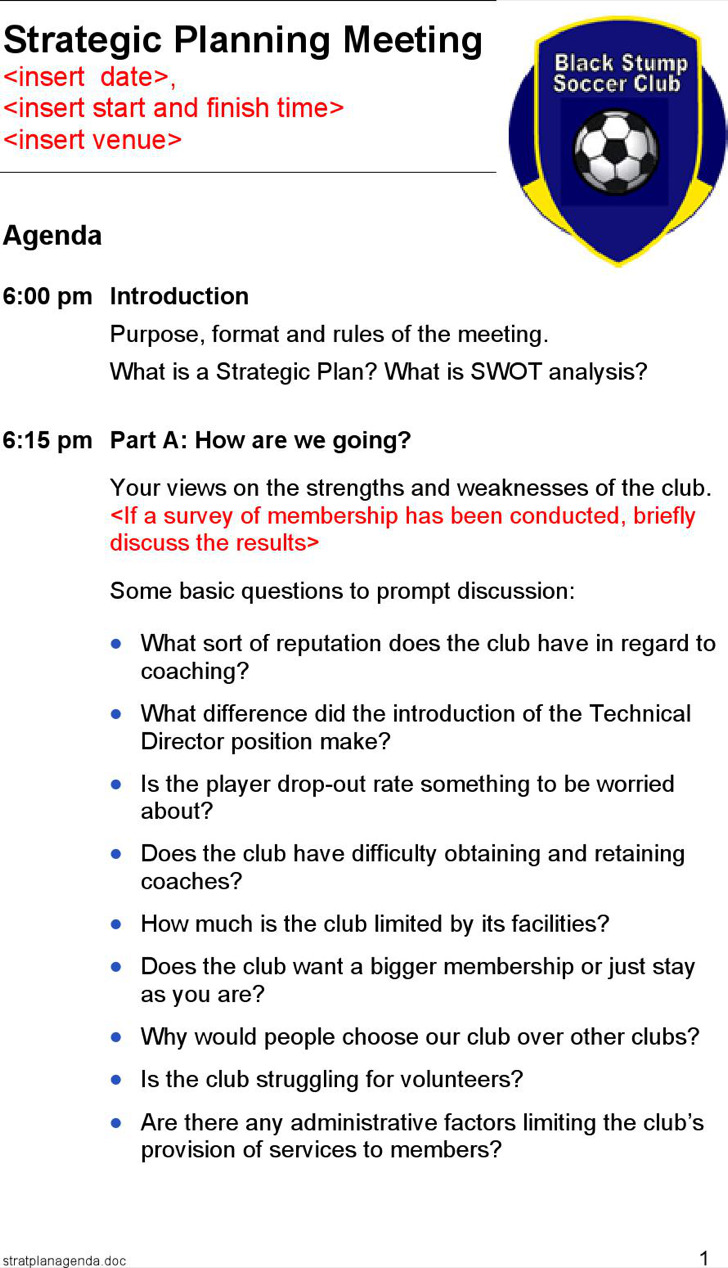 Strategic Planning Meeting Agenda Sample