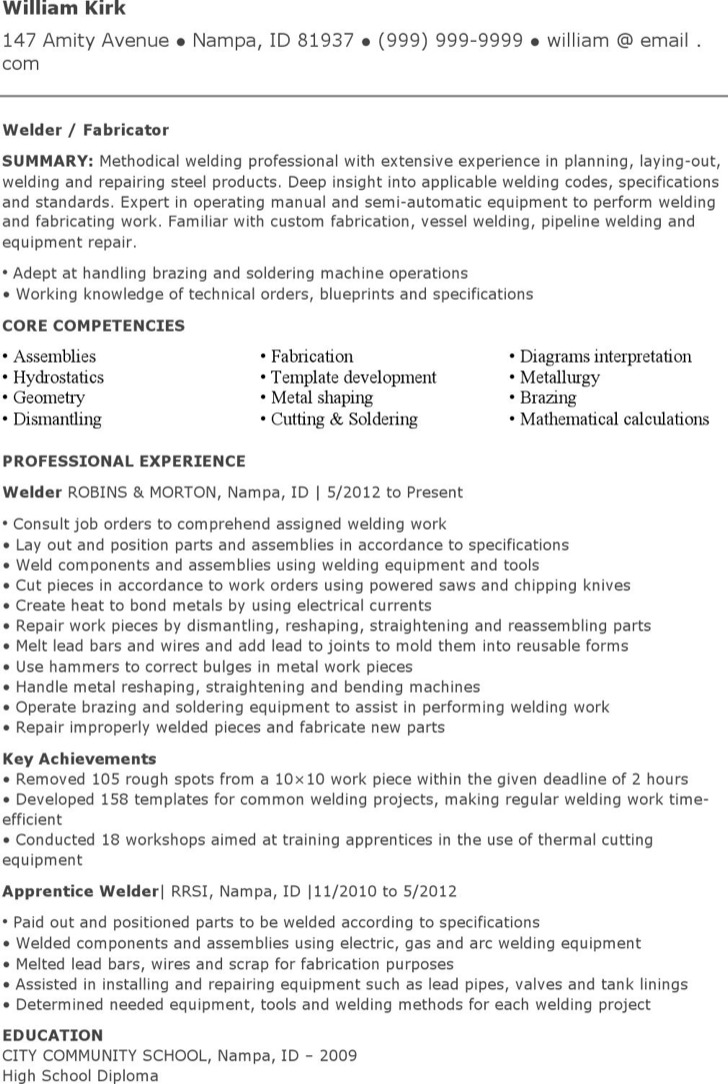 Structural Welder Resume