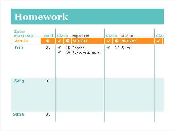 Student Homework Schedule Template Excel Online