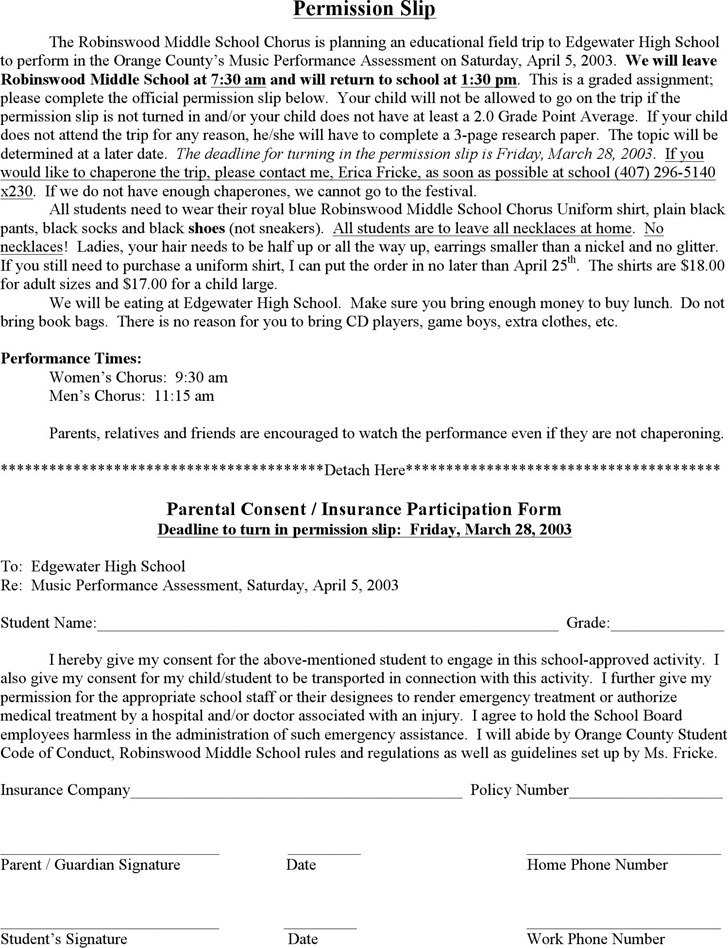 Student Permission Slip Template