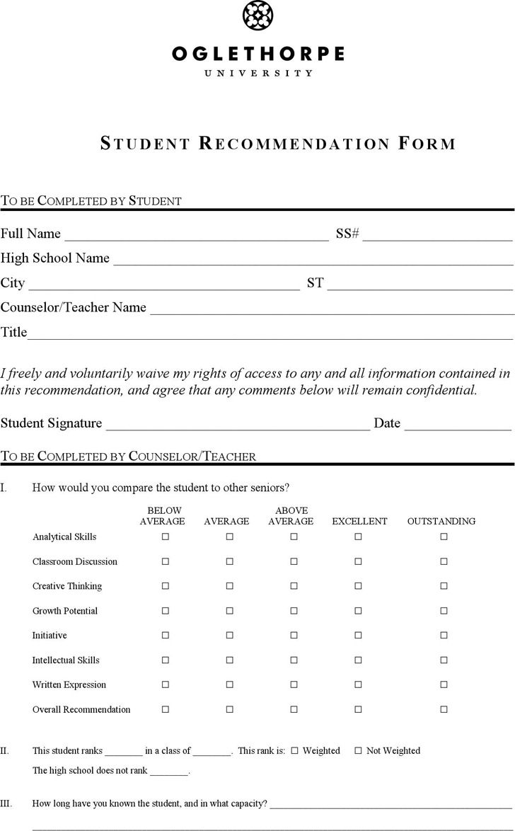 Student Recommendation Form