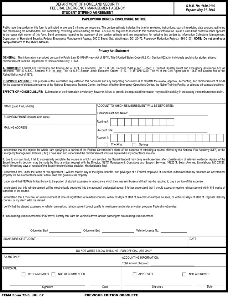 Student Stipend Agreement