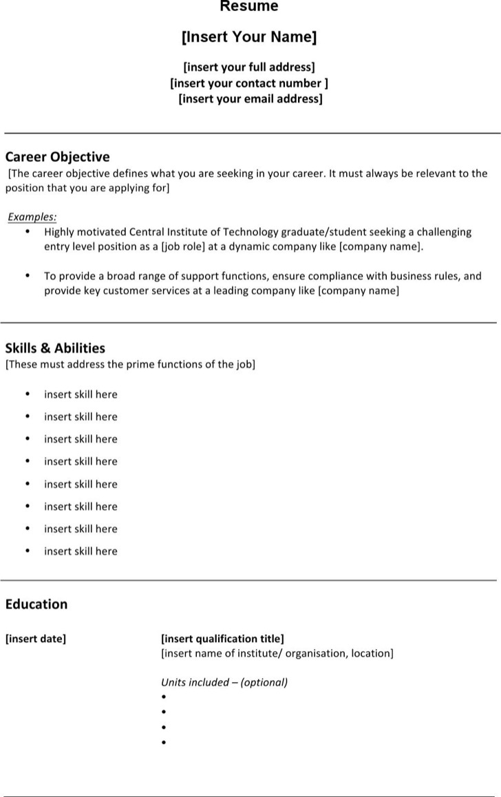 Student Work Resume