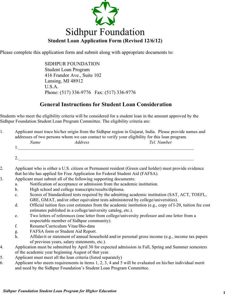 Students Loan Application Form 3