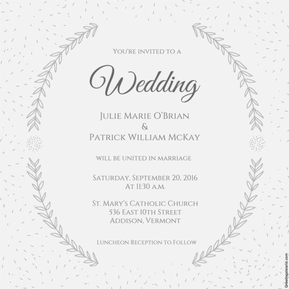 Stylized Laurels Printable Wedding Invitation Template Download