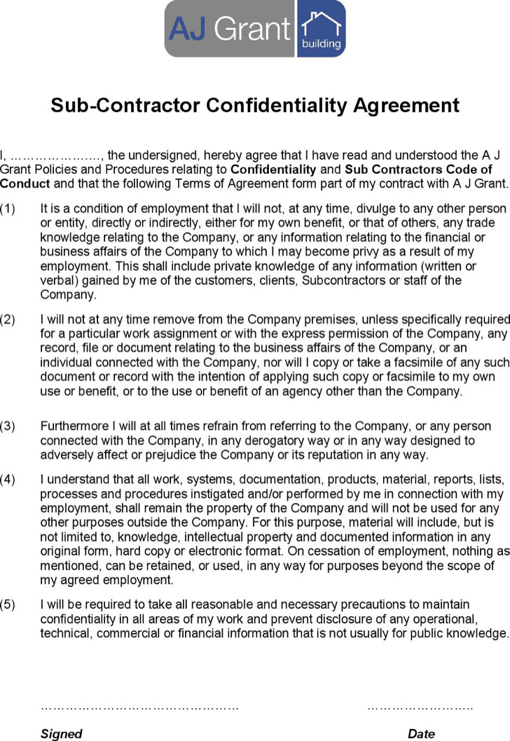 Sub Contractor Confidentiality Agreement