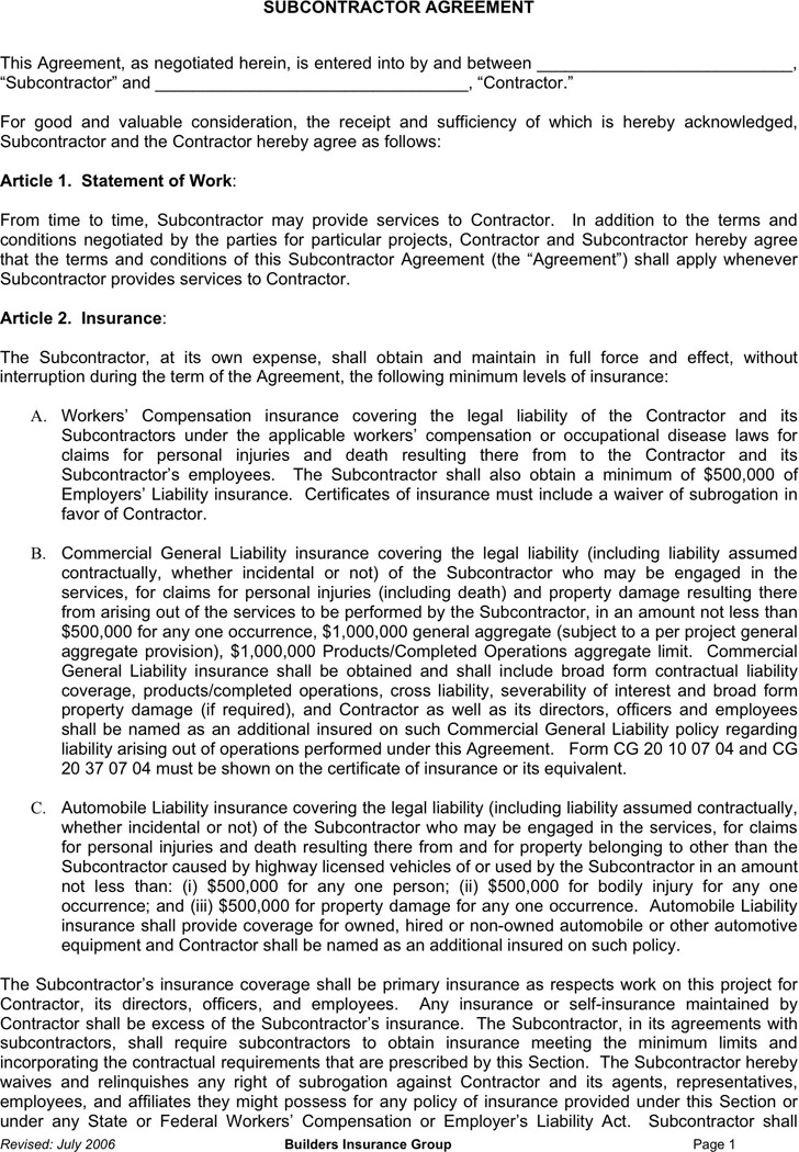 Download Subcontractor Agreement For Free Tidytemplates
