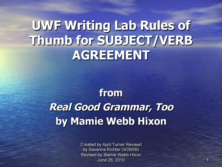 Subject Verb Agreement Powerpoint 4