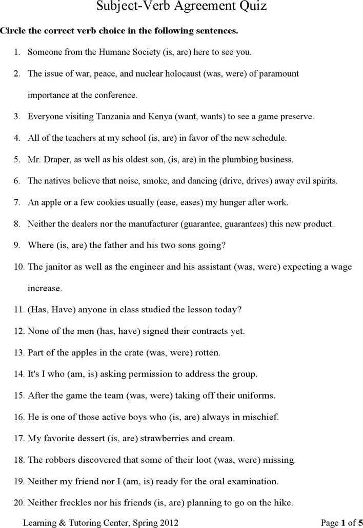 Download Subject Verb Agreement Quiz For Free Tidytemplates