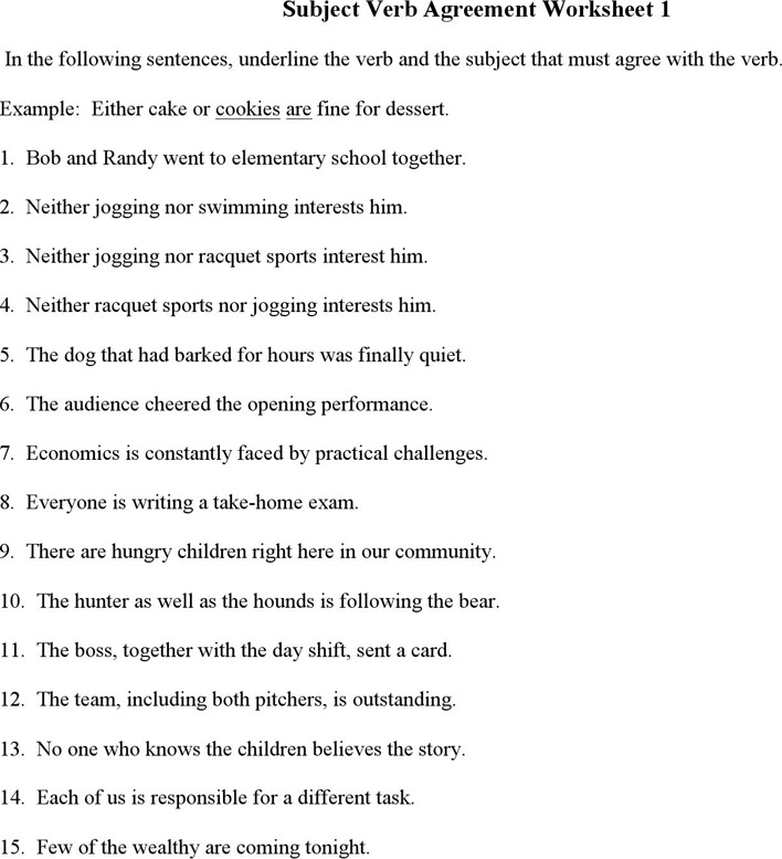 3 Subject Verb Agreement Worksheets Free Download