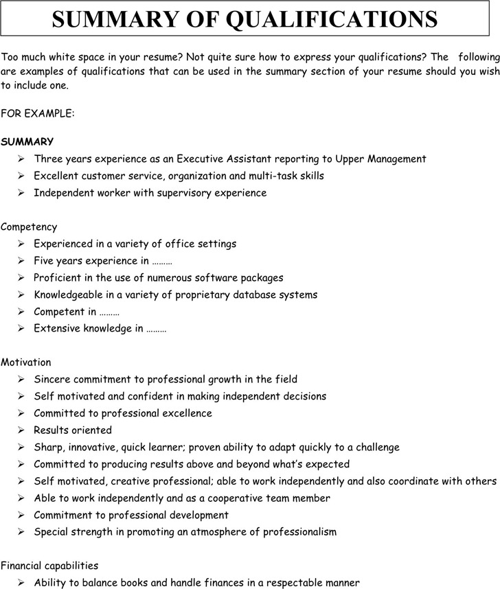 Summary of Qualifications Example 1