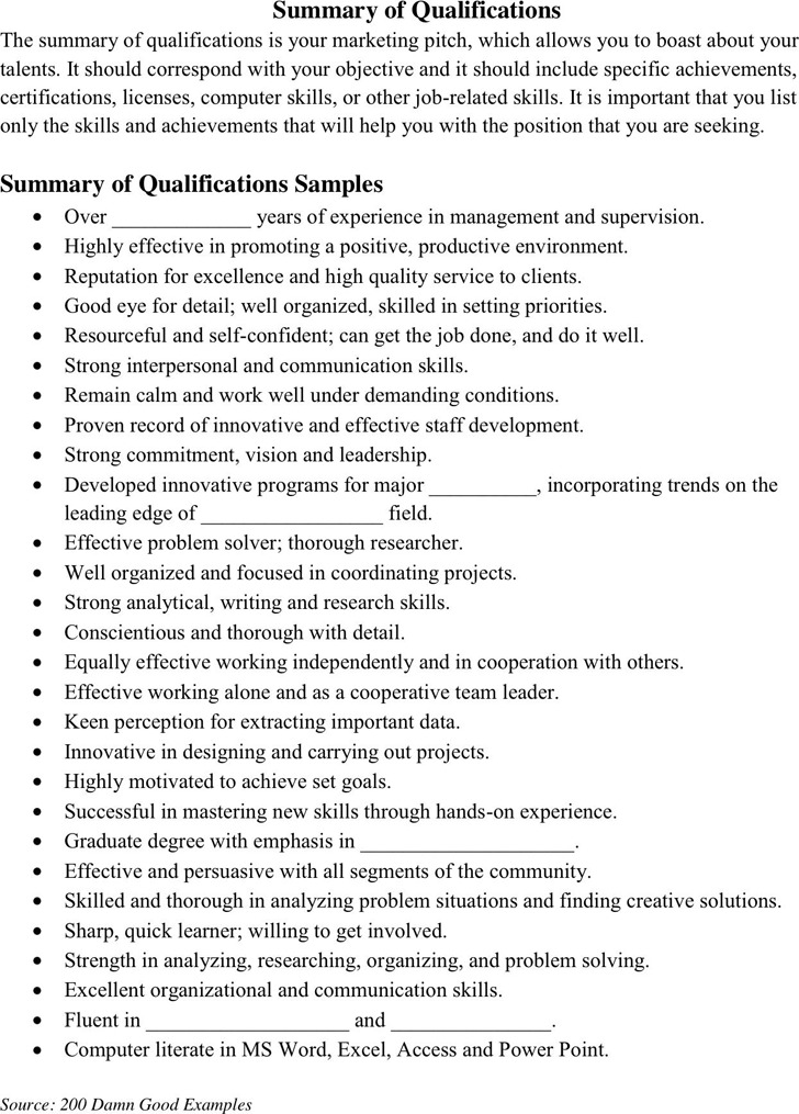 Summary of Qualifications Example 2