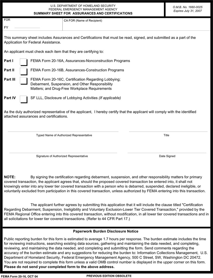 Summary Sheet For Assurances And Certifications