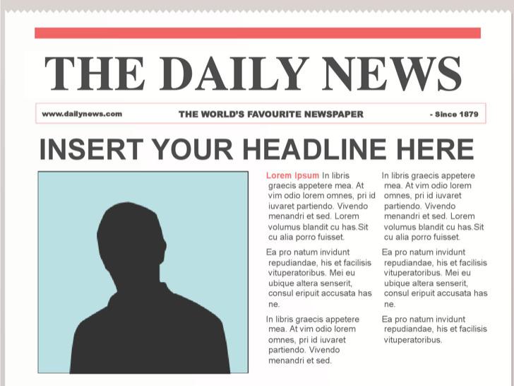 Sunshine Editable News Paper Template Free Ppt Format