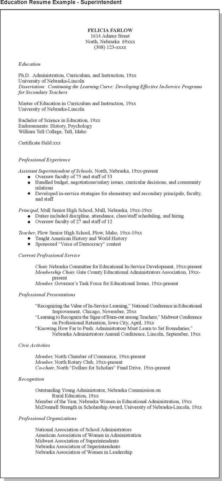 Superintendent Education Resume Example