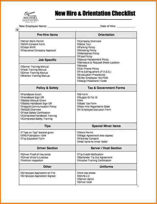 Supervisor New Employee Checklist PDF Format Template Download