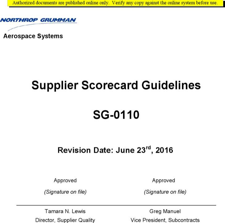 Supplier Scorecard Guidelines Sample