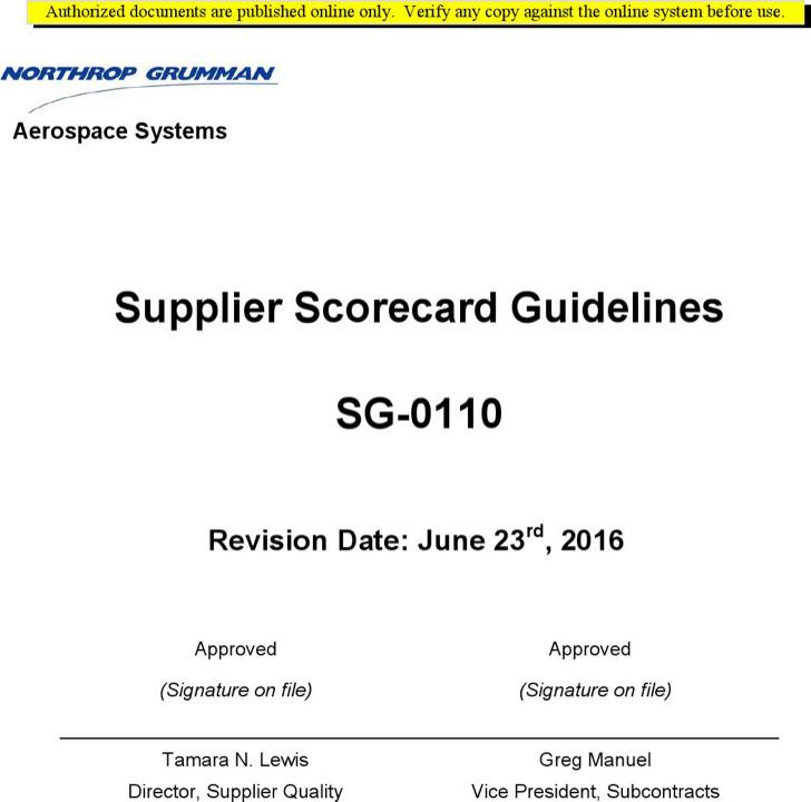 Supplier Scorecard Guidelines
