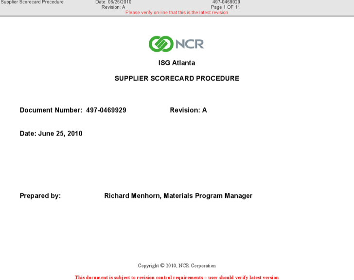 Supplier Scorecard Process Sample