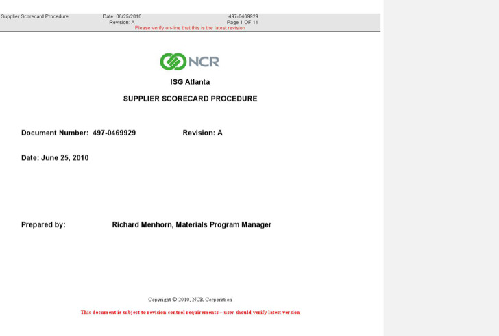 Supplier Scorecard Process