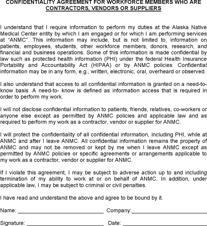 Suppliers' Vendor Confidentiality Agreement Example
