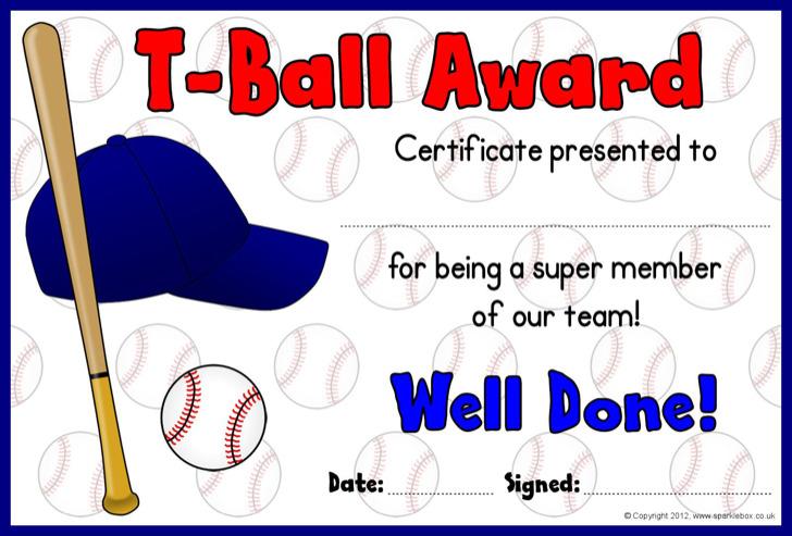 T Ball Award Certificate Template