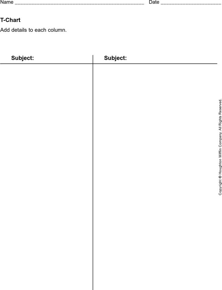 T Chart Template 1