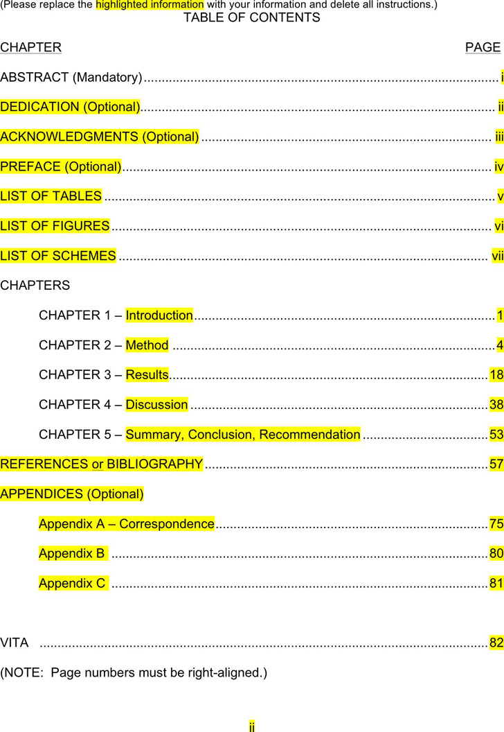 Table of Contents Template 2