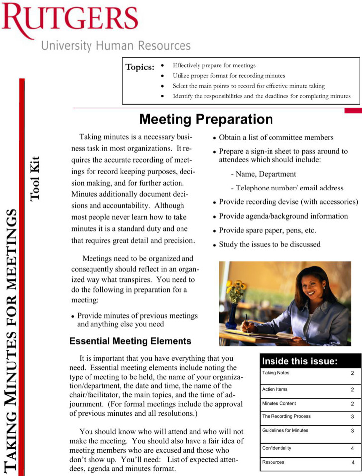 Taking Minutes For Meeting