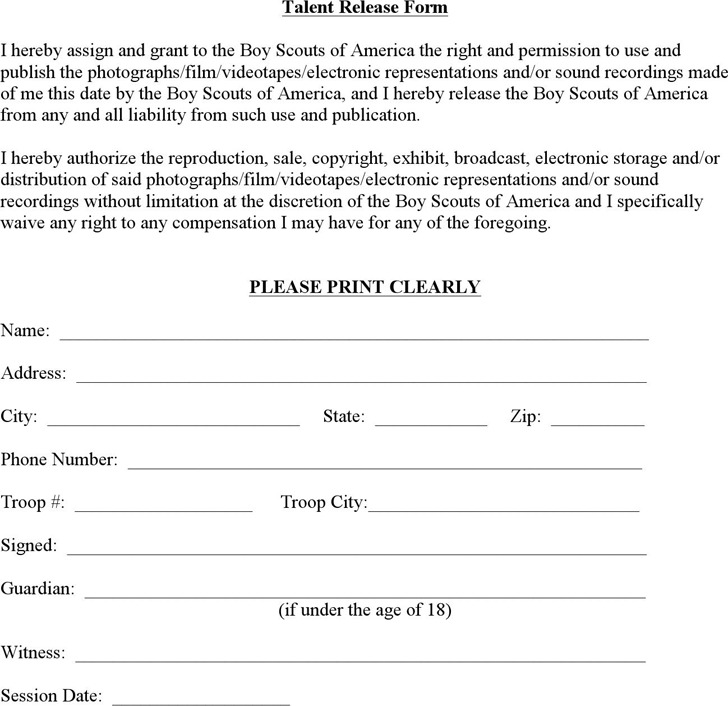 Talent Release Form 2