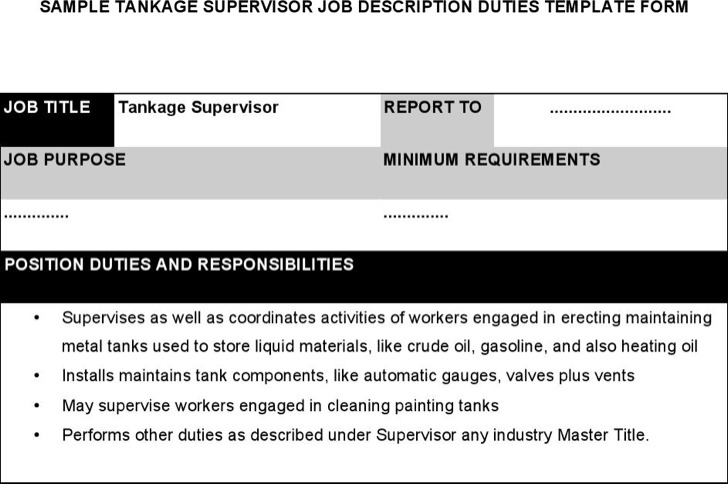 Tankage Supervisor Job Description