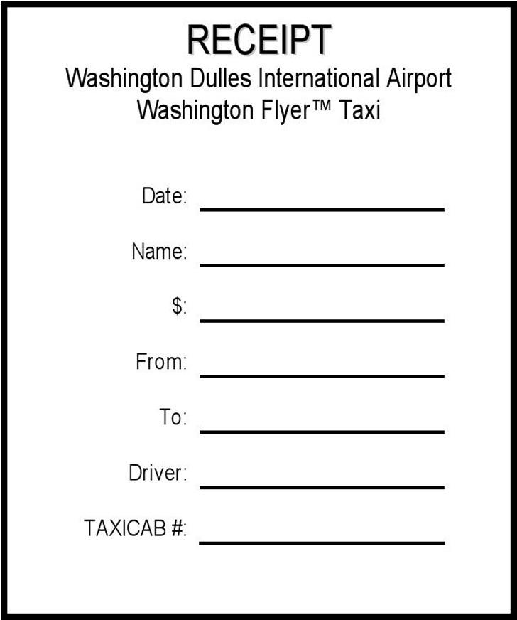 Taxi cab Receipt