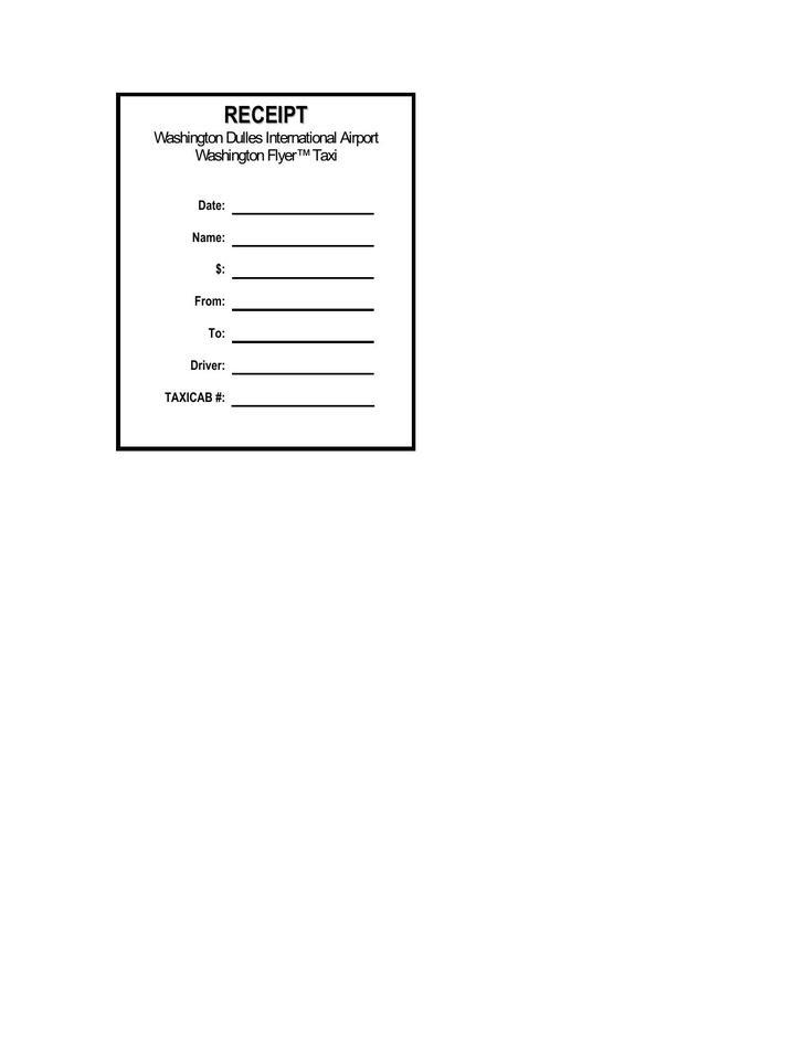 Taxi Receipt PDF Format Download