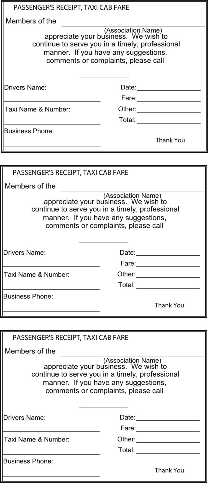 Blank Taxi Receipt Template