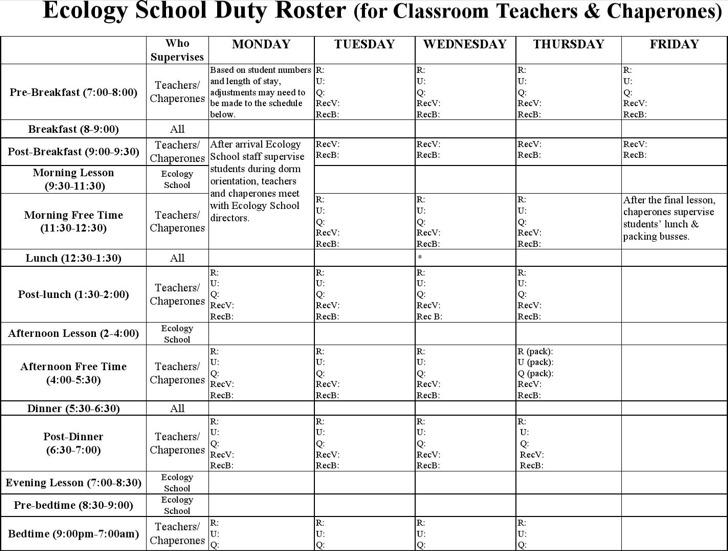 Teacher Duty Roster Template