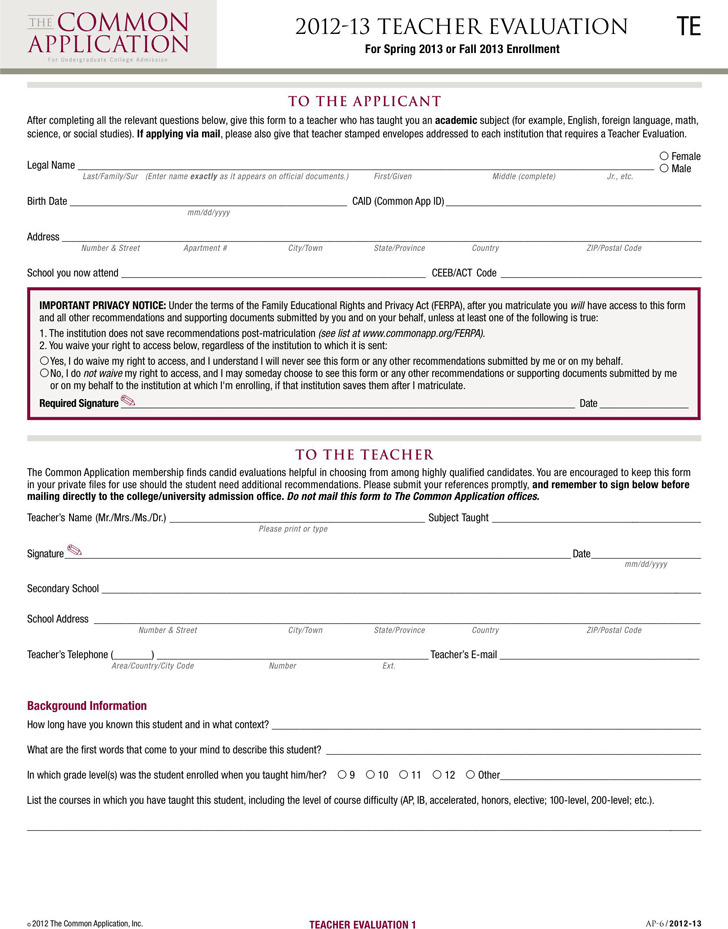 Teacher Evaluation Form 2