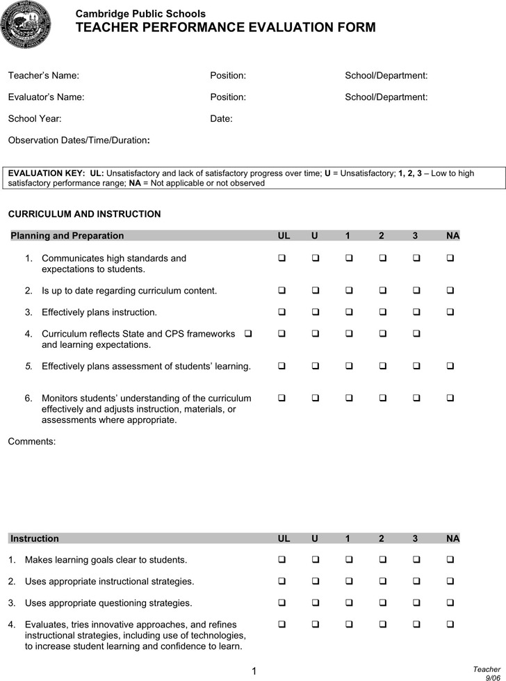 Teacher Evaluation Form 3