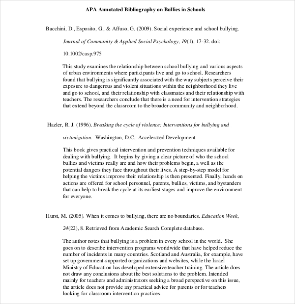Teaching APA Annotated Bibliography Template Format
