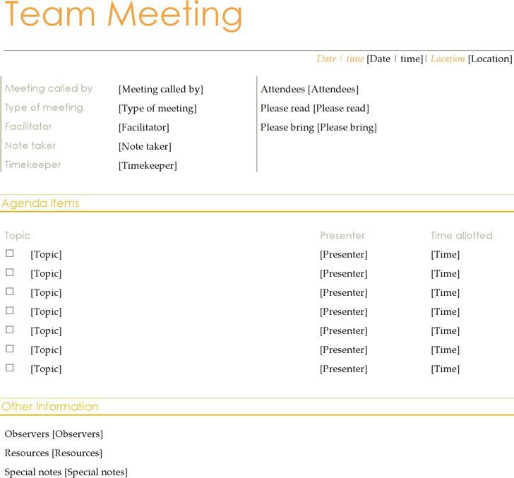 Team Meeting Agenda (Informal) 2