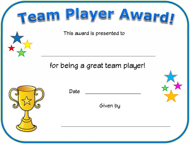 Team Player Certificate