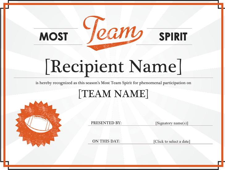 Team Spirit Award Certificate Word